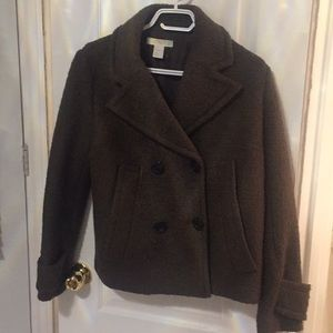 Olive green wool type pea coat